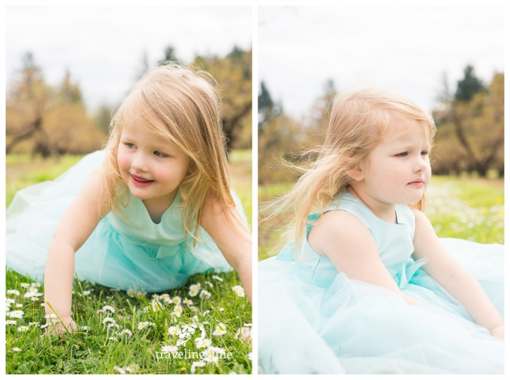 Candid portraits of little girl in orchard